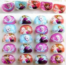 Wholesale 100 Pcs Mix Resin Cartoon Round Disney Princess Children Rings gifts