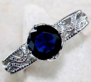 2CT Blue Sapphire & Topaz 925 Solid Sterling Silver Ring Jewelry Sz 6, M3