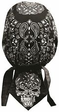 Cranium Paisley Black Biker Doo Do Du Rag Head wrap Skull cap Capsmith