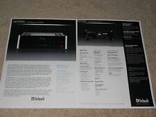 McIntosh MVP881 Universal Disc Player Brochure, 2 pg, Articles, Specs, Info