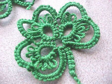 Tatted Shamrocks 4 Green Tatting by Dove Country - Crazy Quilt Scrapbooking Gift