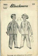 Vintage Boys & Girls Pyjamas Sewing Pattern Blk7855 Size 5-6yrs