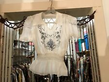 Vintage Hungarian Blouse~Embroidered Sheer Voile Ethnic Peasant Top ~ S/M