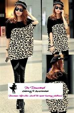B37 Popular Leopard Print Black Batwing Sleeve Loose Style Fashion Top Blouse