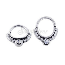Multi Jeweled Ornate Tribal Clicker 925 Silver Septum Ring Nose Piercing 1prs