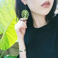 Monstera Leaf Dangle Earrings Women Statement Hook Metal Gold Leaves Ear Drop