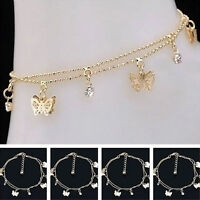 Fashion Women Sexy Rhinestone Gold Butterfly Charm Chain Bracelet Jewelry Gift