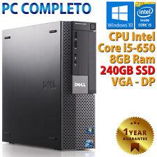 PC COMPUTER DESKTOP FISSO DELL RICONDIZIONATO CORE i5 RAM 8GB SSD 240GB WIN 10
