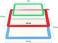 3 Packs Reusable Silicone Baking Mat Heat Resistant Non Stick Sheet Pan Liner