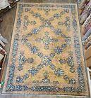 Estate sale handwoven large blue yellow antique rug size 12x18 dragons