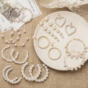 Women Fashion Pearl Earrings Alloy Geometric Irregular Drop Dangle Jewelry