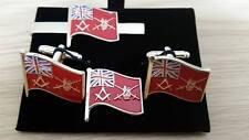 British Army flag Square+ Compass Cufflink, Tieslide, lapel pin set, Freemason