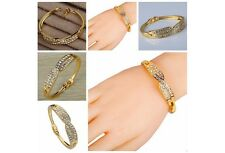 Jewelry Gold Plated Wave Design Inlay Diamante Crystal Charming Bangle Bracelet