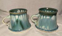 Set Of 2 EDGECOMB Blue Glazed Crystalline Maine Studio Pottery Mug/Cups 12oz