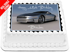 Aston Martin Car Edible Icing Cake Image Black Birthday Party Decoration Topper
