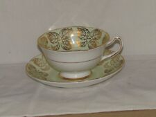 Royal Grafton Cup & Saucer 1950-1956 #8113 Mint Green w/Gold Leaf Garland & Gold