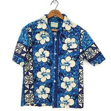 Vintage Ui-Maikai Hawaiian Shirt Mens Small? Blue White Hibiscus Short Sleeve