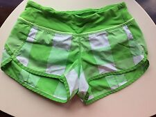 Lululemon Gingham Plaid Shorts Green White Size 2