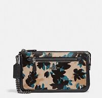 NEW COACH NOLITA CLUTCH/ WRISTLET 24 IN HAIRCALF WITH SCATTERED LEAF PRINT
