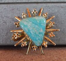 Costume Jewellery Brooch Starburst with Blue Green Central Stone 3cm.