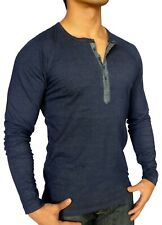 MENS BLUE INDIGO LONG SLEEVE HENLEY T SHIRT SLIM GRANDPA FASHION CASUAL