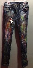 $98 NWT Blanknyc Brand Multi Color Painted Really Cool Blue Jeans Size 26