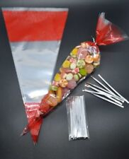 """1000 - RED Cone Cellophane Sweet / Party Bags With 4"""" Silver Twist Ties"""