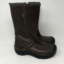 KEEN DRY Womens Brown Leather WATERPROOF Side Zip Up Tall BOOTS Shoes Size 9