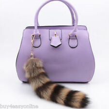 Hot Real Large American Raccoon Tail Fur Keychain Tassel HandBag Tag Charm