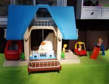 Vintage Little Tikes Dollhouse Blue Roof Family Furniture Van Slide Cozy Coupe!