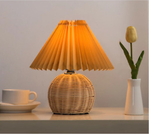 European-style pleated Lamp Rattan LED lamp living room standing lamps
