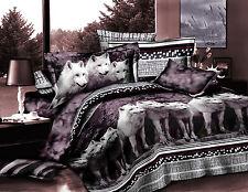 @homechoice 3d Luxury Mountain Wolf Print 4 Piece Bedding sheet Set King