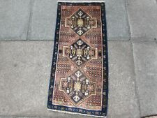 Vintage Old Traditional Hand Made Rug Oriental Wool Pink Blue Small Rug 94x45cm