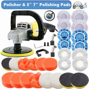 "5"" 7"" Car Polisher Buffer Sander Polishing Waxing Machine Bonnet Sponge Pads Kit"