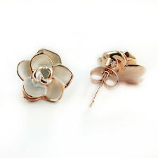 Plated Rose Stud Earrings (Fe423) Fashion Jewelry - 18k Rose Gold