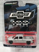 1:64 Greenlight 2018 Chevrolet Silverado 100 years trucks silver black wheelsNEW