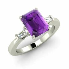 Three Stone Engagement Ring with 1.51 Cttw Amethyst in Solid 14k White Gold