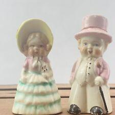 """Ceramic Salt & Pepper Shakers Boy & Girl Formal Dress Japan No Stopper 3"""" Tall"""