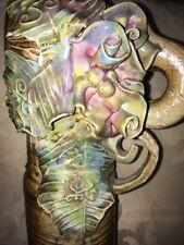 Stunning Unusual Studio Pottery Vase Organic & Elephant Tusk Form Pastel Flora