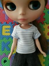 Blythe Doll Outfit Light Blue and white strip tee