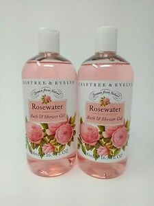 2x~CRABTREE & EVELYN~Rosewater~BATH & SHOWER GEL~16.9 FL OZ / 500 mL~N