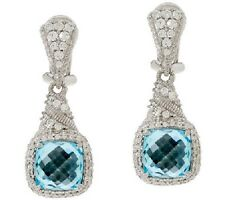 Judith Ripka Sterling 6.65ct Blue Topaz and Diamonique Earring NWT Pierced