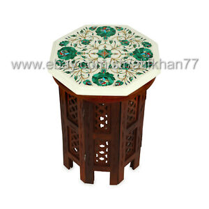 Night Stand cum Bedroom Side Table Marble Inlay Pietra Dura Art