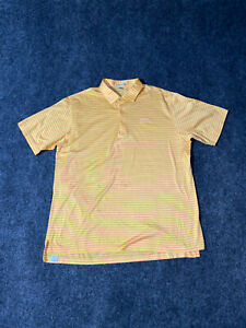 Peter Millar Golf Polo Shirt Striped Yellow And Peach Size XL Mens 100% Cotton