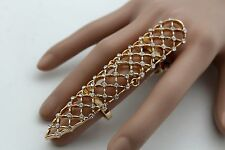 Hot Women Statement Double Ring Gold Long Nail Bling Fashion Silver Beads Size 7