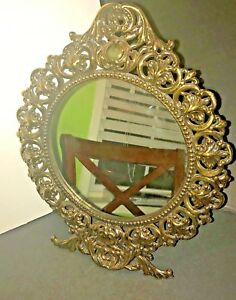 Vintage Gold Gilt Iron Art Round Easel Tabletop Mirror, #JM29-Free Shipping...