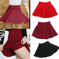 Fashion High Waist Pantskirt Skater Mini Skirt Plain Flared Pleated A-Line New