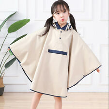 Poncho type waterproof fabric for primary school students,beige,L