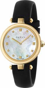 New Gucci Diamantissima MOP Dial Leather Strap Women's 32mm Watch  YA141404