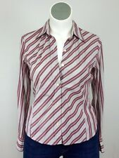 Faconnable L Cotton Burgundy Wht Blue Brown Stripe Shirt Blouse Hong Kong France